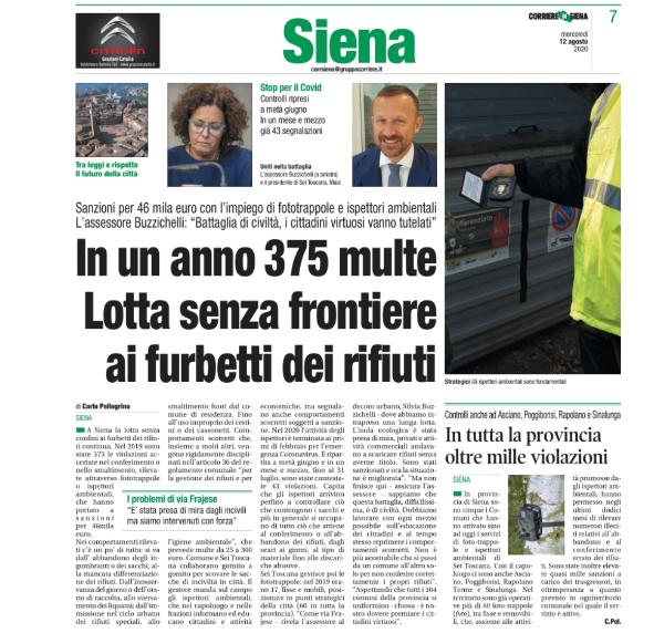 Presidio e controllo del territorio: l'articolo del Corriere di Siena sul servizio di ispettori ambientali e foto-trappole di Sei Toscana